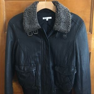 Vince Black Leather Bomber Jacket